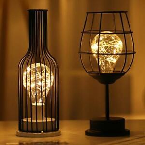 Schwarz Metalldraht Tischlampe Moderne Eisen Korb Käfig Stil Nachtlicht Retro DE