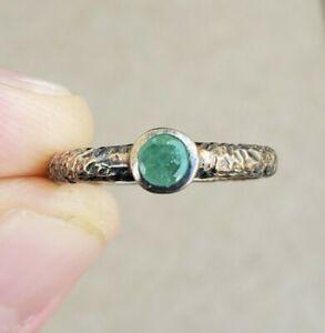 925 Vintage Sterling Silver Aventurine Green Stone Ring 925