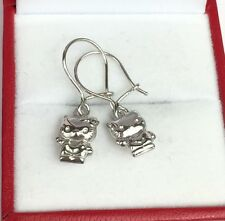 18k White Gold Hello Kitty Dangle Lever back Earrings, Diamond Cut1.45 Grams