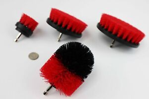 4 Piece drill brush HEAVY DUTY(RED) STIFF NEW from US Based seller