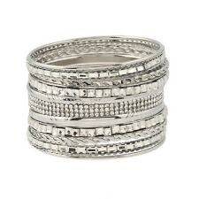 Silver Bangles Set 6.8cm wide Chic Punk Style, Gift, Present, Party