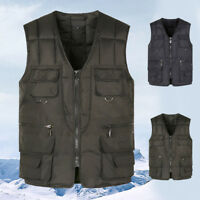 Mens Thicken Warm Vest Sleeveless Cotton Down Coat Winter Outwear Jacket Pockets