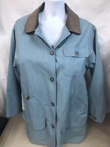 LL Bean Light Blue Field Farmer Barn Coat Brown Corduroy Collar Women's XL