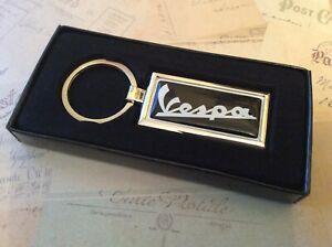 Chrome Keyring In Box Oblong With Printed VESPA PIAGGIO BLACK