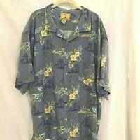 Jamaica Jaxx Mens Hawaiian Shirt XXL Blue and Yellow Floral Silk