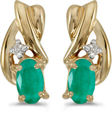 14k Yellow Gold Oval Emerald And Diamond Earrings (CM-E1861X-05)