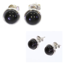 Earrings Studs Stone Onyx & Solid Silver Rhodium 925/1000