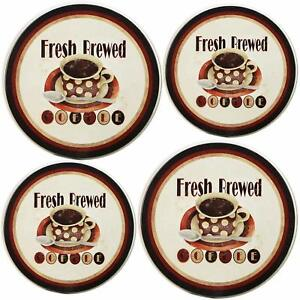 Electric Stove Top Range Round Burner Covers Fresh Brewed All-Over Pattern Set 4
