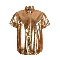 Men's Holographic Shirt - GOLD - Festival Fancy Dress