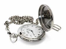 MBUKO Taschenuhr mit Spiegel | Farbe Silber | Mit Kette und Geschenkbox