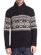 Polo Ralph Lauren Intarsia-Knit Nordic Shawl Sweater Pullover Black XL $265