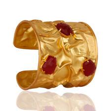 18K Yellow Gold Plated Brass Red Aventurine Designer Cuff Wide Bangle Jewelry