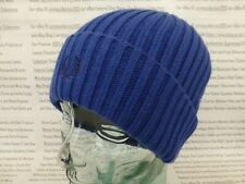 FRED PERRY Turn-Up Beanie Mens Inner Tipped Med Ribbed Hat Regal Cotton Cap BNWT