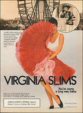 1987 print AD VIRGINIA SLIMS Cigarettes sexy model in red skirt (100815)