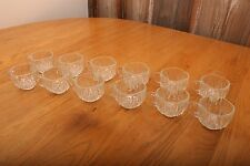 12 Vintage Square Glass Punch Glasses With Chevron Pattern