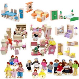 Wooden Furniture Dolls House Set Room Family People Miniature Toys Kids Gifts UK