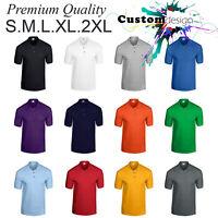 POLO Golf blank plain basic Jersey Collar T-Shirt S-2XL Small Big Men's Cotton