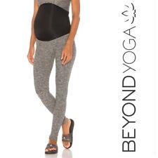 BEYOND YOGA Maternity Leggings Womens L Gray Spacedye Black Full Panel $116