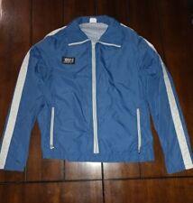 Vtg FRANK SHORTER Olympic GOLD Marathon Running Jacket Metallic Blue & White