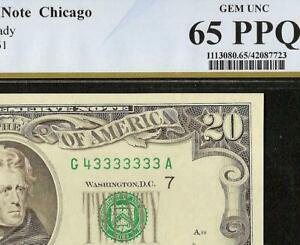 UNC 1990 $20 DOLLAR NEAR SOLID 3333333 SERIAL NUMBER NOTE PAPER MONEY PCGS 65