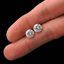 4.00CT Created Diamond Earrings Solid 14k Yellow Gold Solitaire Basket Studs