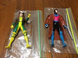 "Uncanny X-Men GAMBIT & ROGUE 5"" Action Figure Lot Complete Marvel ToyBiz 1992"