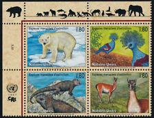 United Nations - Geneva 301a TL Block MNH Polar Bear, Pigeon, Iguana, Lama