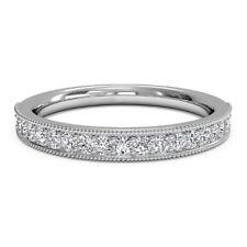 0.30 Ct Real Diamond Eternity Band 14K White Gold Wedding Rings Size M N L K G H