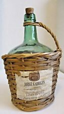 Large Wicker Wrapped Green Vintage Empty Wine Bottle w/ Handle from Spain