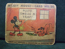 SCARCE 1935 MICKEY MOUSE BUBBLE GUM CARD #34
