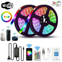 10M 5M LED Strip Light RGB tape lamp Waterproof Alexa Google Smart WIFI Full Kit