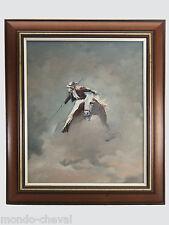 TOILE PEINTE ENCADREE, signée GIL PIRES, 1993, Picador, cheval