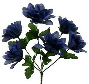 "6 Head 3"" Dahlia Artificial Silk Flowers Wedding Bouquet Centerpiece Fake Faux"