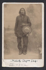 USA Native American Indian Cheyenne Chief Mad Wolf 1903 Antique Cabinet Photo