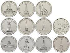Serie completa 10 monedas de 5 Rublos RUSSIA 2012 - Monumentos Batallas