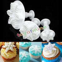 3pcs Snowflake Plunger Cutter Mold Fondant Cake Decorating DIY Tool
