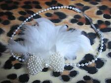Ivory Cream Pearl Bow  Feather Flapper 1920 Hair Head Band Choochie Great Gatsby