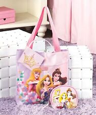 NEW Girls 3 Pc Princess Disney Tote Gift Set Tote,Cosmetic Bag, Attached Mirror