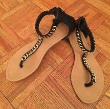 Forever 21 Black Strappy Thongs Chain Link Flip Flops Sandals Zip Back Women's 9