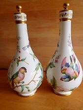 RARE PAIR OF MID 19TH CENTURY MINTON ROSE WATER BOTTLE VASES WITH BIRDS