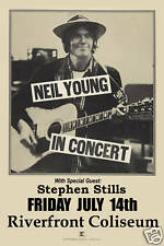 Classic Rock: Neil Young at Riverfront Coliseum Concert Poster 1978 12x18