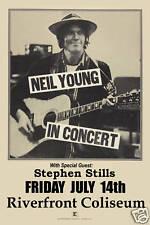 Classic Rock: Neil Young at Riverfront Coliseum Concert Poster Circa 1978