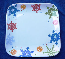 Snowflake holiday plate platter hand painted square serving Christmas Ironstone