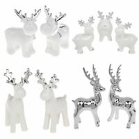 Lovely Chic Contemporary Silver Reindeer Ceramic Ornaments 4 Styles