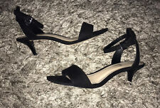 Nine West Black Leather Ankle Strappy Kitten Heel Sandals Sz 6 Mint Condition