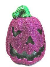 "Halloween Glitter Jack-o-Lantern Purple LED Sound Activated Pumpkin 8"" Tall"