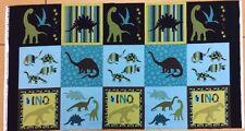 Benartex - Fundament von Greta Lynn - Jurassic Squares - Dinosaurier - blau -