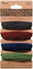 Bamboo Cord Set, 4 Colors, 1mm, Jewel Colors, 20lb Weight, 30' (9.1m) each color