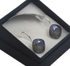 Silver Plated Earrings SHEENA * DARK GREY S* 12mm Crystals from Swarovski®