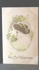 1910 Vintage Valentine Post Card To My Valentine Brunette ribbons in hair Roses